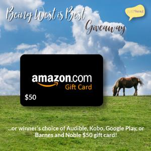 (1) winner will receive a $50 gift card to the winner's choice of Amazon, Audible, Kobo, Google Play, or Barnes and Noble!