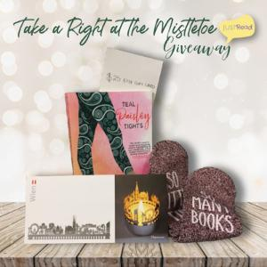 """(1) winner will receive a pair of socks """"So many books, so little time,"""" a Vienna Skyline Votive Cutout, a $25 Etsy Giftcard, and a signed copy of Teal Paisley Tights!"""