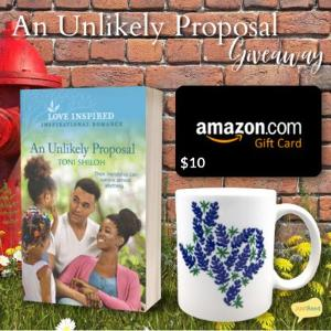 (1) winner will receive a paperback copy of An Unlikely Proposal, a Texas bluebonnet mug, and a $10 Amazon Gift Card!