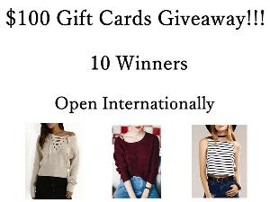 $100 Gift Cards(Clothing)