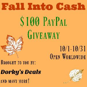 $100 PayPal Fall Into Cash Giveaway