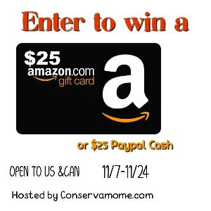 $25 Amazon GC or PayPal Cash Giveaway
