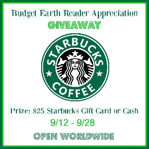 $25 Starbucks Gift Card Giveaway - Budget Earth