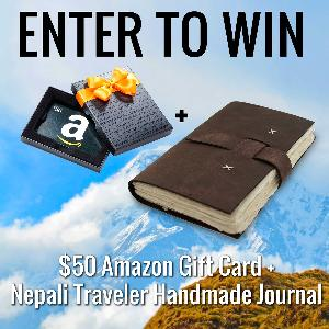 $50 Amazon Gift Card and Nepali Traveler Leather Bound Journal