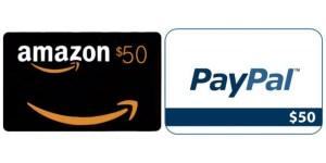 $50 Amazon Gift Certificate or $50 Paypal Cash