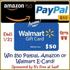 Contest: $50 Amazon, PayPal, or Walmart GIFT CARD Giveaway!