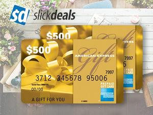 $500 AMERICAN EXPRESS GIFT CARD FROM SLICKDEALS!