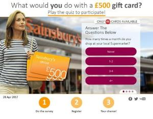 £500 gift card for Sainsbury's