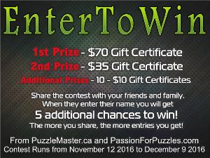 $70 Gift Certificate From Puzzle Master Giveaway