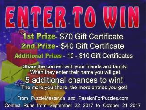 $70 Puzzlemaster.ca Gift Certificate Giveaway