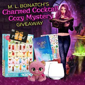 Cozy mystery author M. L. Bonatch is releasing a brand new series, and to celebrate she's giving one lucky reader a cozy prize pack including a cocktail-themed jigsaw puzzle, a journal with stickers, a pair of stemless wine glasses,..+more!!