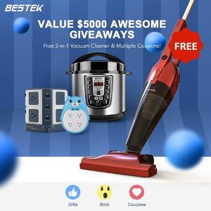 """Divide up the valued $5000 BESTEK awesome giveaways"
