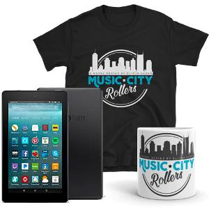 •Kindle Fire 7 •An official Music City Rollers Coffee Mug •An official Music City Rollers T-Shirt