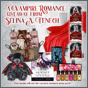 One lucky reader will win a fantasy coloring book, a plush velvet blanket, romance essential oils, a fairy diffuser, coconut milk & strawberry spa gift set, Ted the Impaler plush, and a $25 Amazon gift card!