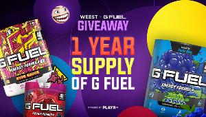 1 Lucky Winner Will Receive a 1-Year Supply of G FUEL!!
