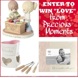 1 winner will receive a Precious Moments Valentine's Prize Pack including a Love is our Secret Ingredient figurine, I'm So Glad I Fondue warmer and Life is Sweeter with You Photo Frame!