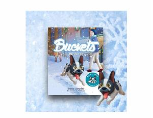 1 winner will win A signed copy of Buckets Goes On A Winter Adventure and a plush toy Buckets & 1 winner will win A signed copy of Buckets Goes on a Winter Adventure!!