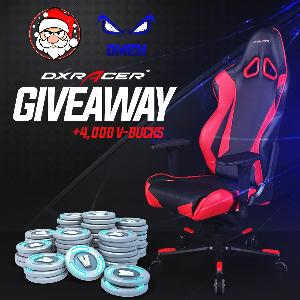 1st Place : DXRacer Gaming Chair ; 2nd-5th Place: 1,000 Fortnite V-BUCKS