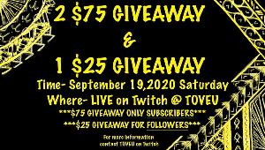 2 Subscribers will win $75 each and one follower will win $25!!