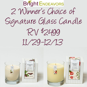 2 Winners Choice of Signature Glass Candle from Bright Endeavors