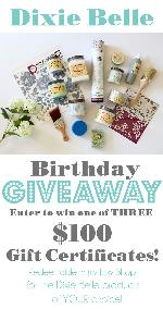 3 Winners will win a $100 Gift certificate for Dixie Belle products each!