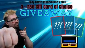 3 Winners will win a  $50 Gift Card to Gaming Platform of Choice each!!