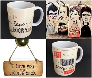 3 X bookish mugs, couple of signs and couple of character keyrings from Wotmalike