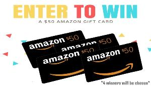 4 WINNERS WILL WIN A $50 Amazon Giftcard EACH!