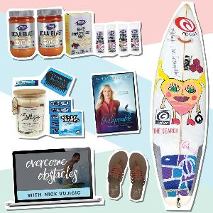 4 winners will win a signed Bethany surfboard…    PLUS a $200 gift card to NOW Sports, a FREE PAIR of Cobian Sandals, a Sticky Bumps prize pack …and more!