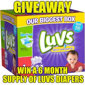 6 month supply of Luvs Diapers