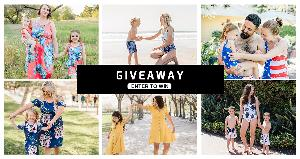 6 pics of parents and kids in matching dresses or swimsuits