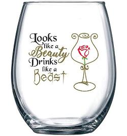 A Beauty and the Beast themed wine glass and kindle sleeve (US only) – international winner gets an amazon gift card substitute