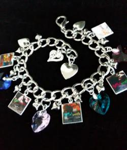 A charm bracelet featuring all the covers from the series