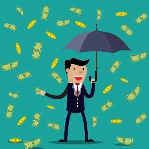 A man with an umbrella with cash raining down