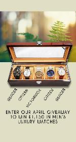 A set of 5 watches in a wooden box.