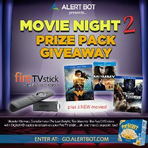 "AlertBot Movie Night 2 Giveaway - fire TV Stick + ""Wonder Woman,"" ""The Mummy"" and ""Transformers 5"" Movies!"