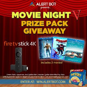 """AlertBot Movie Night Giveaway - fire TV Stick 4K + """"Aquaman,"""" """"Green Book,"""" """"Spider-Man Into the Spider-Verse"""" Movies!"""