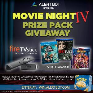 """AlertBot Movie Night Giveaway - fire TV Stick + """"Avengers Infinity War, """" """"Jurassic World,"""" """"A Quiet Place"""" Movies!"""