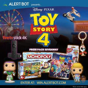 "AlertBot ""Toy Story 4"" Giveaway - fire TV Stick 4K + ""Toy Story 4"" Blu-Ray and Prizes!"