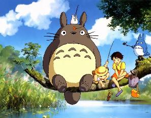 An illustration of children fishing with a large creature called Totoro