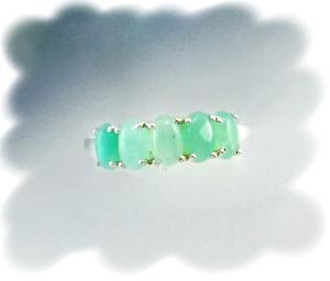 Australian Chrysoprase, 5 x 3 x 3-mm five stone .925 Sterling Silver Ring