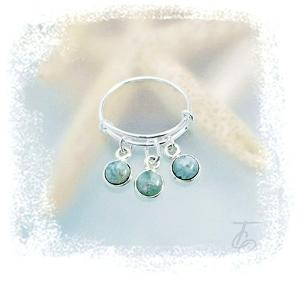 Authentic Dominican Larimar Gemstone-Sterling Silver Expandable Ring-Sizes 6-9
