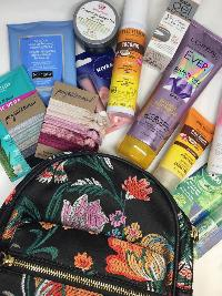 Beauty Gift bag including a backpack and travel beauty essentials