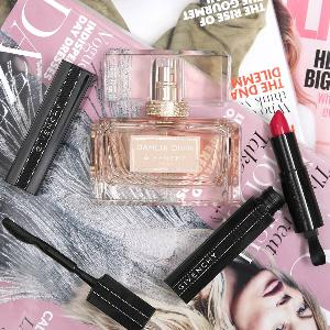Bottle of Givenchy Dahlia Divin Nude + Rouge Interdit Lipstick + Noir Interdit Mascara