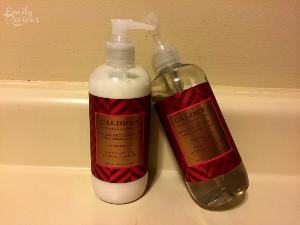 Caldrea soap, lotion, tea and tea cup