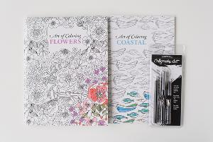 Calligraphy Set and Adult Coloring Book