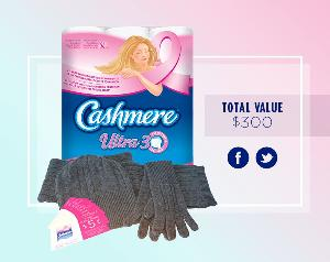 cashmere toilet paper, wool hat and gloves