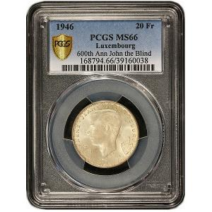 Coin Giveaway # 391 ~ Win a 1946 Luxembourg 20 Francs John the Blind Silver Coin – PCGS MS 66 – KM# 47