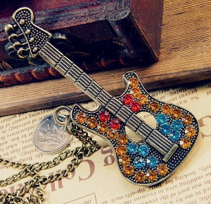 Crystal Guitar Necklace