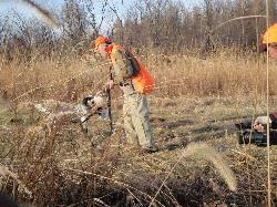 duck hunter and a dog
